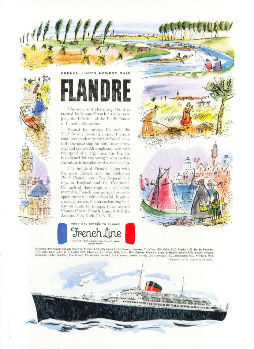 French Line's newest ship S S Flandre ad 1952