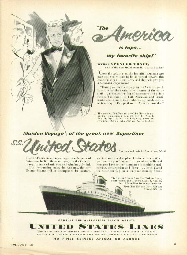 Image for Spencer Tracy says The America is tops S S United States Lines ad 1952