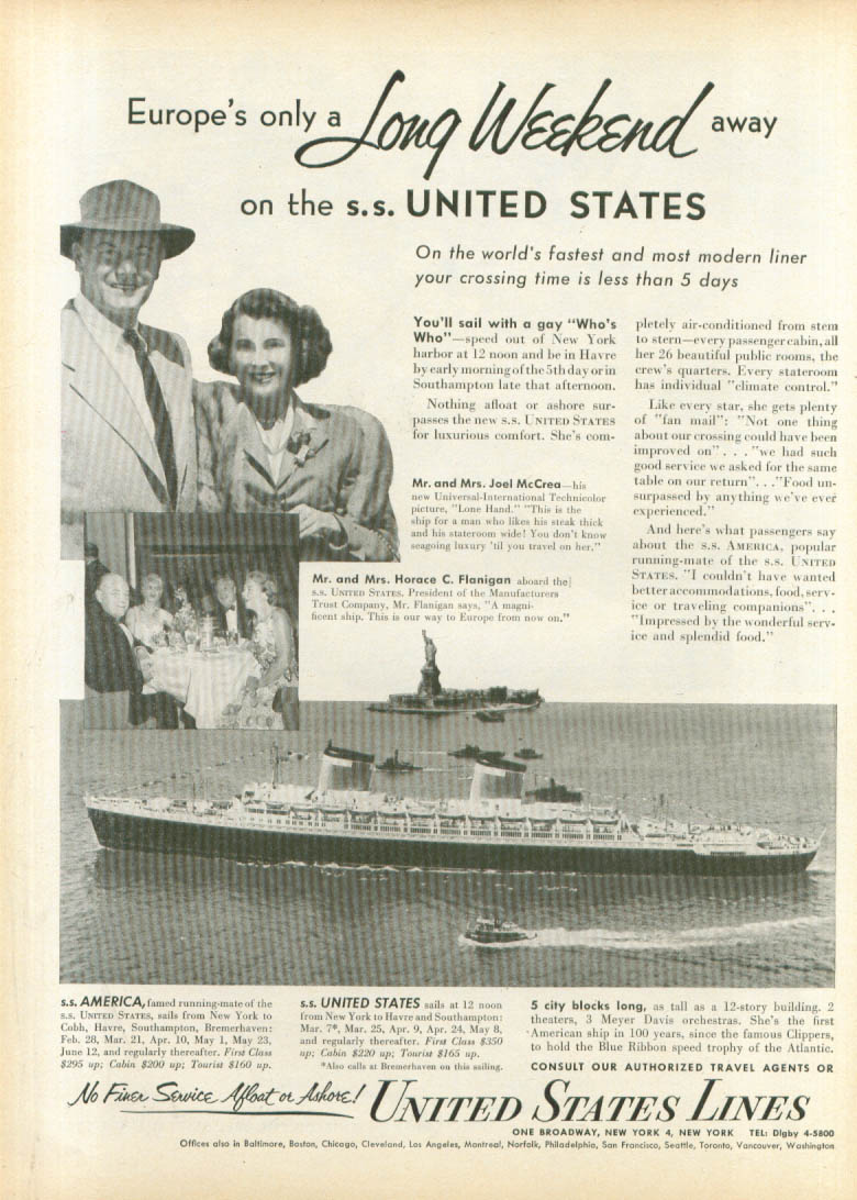 Image for Europe A Long Weekend away S S United States ad 1953