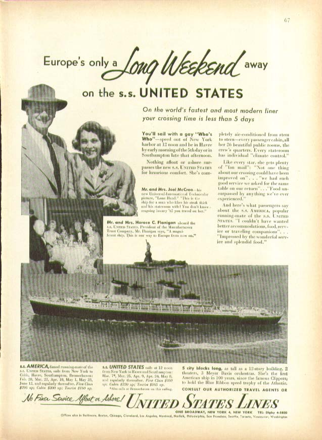 Image for Euope's only a Long Weeked Away S S United States Lines ad 1953
