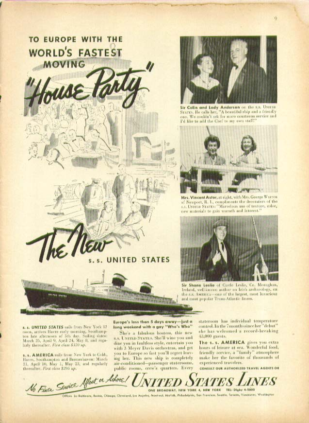 To Europe the World's Fastest Moving House Party S S United States Lines ad 1953