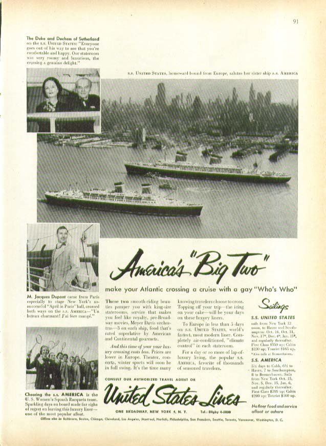 America's Big Two S S United States S S America ad 1953