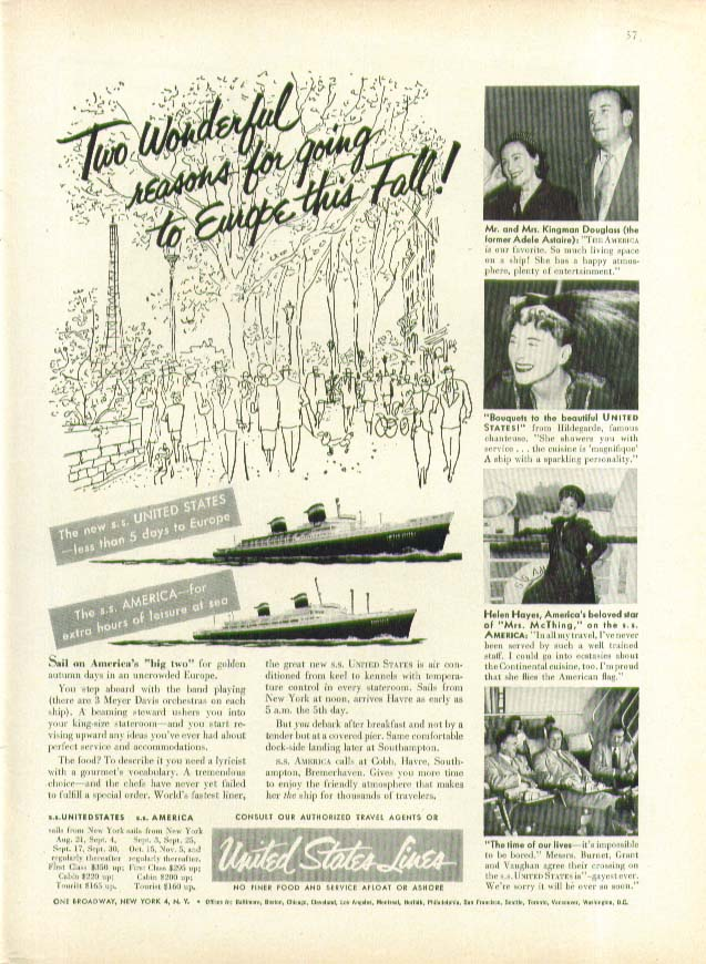 Two Wonderful reasons for going to Europe S S United States & America ad 1953