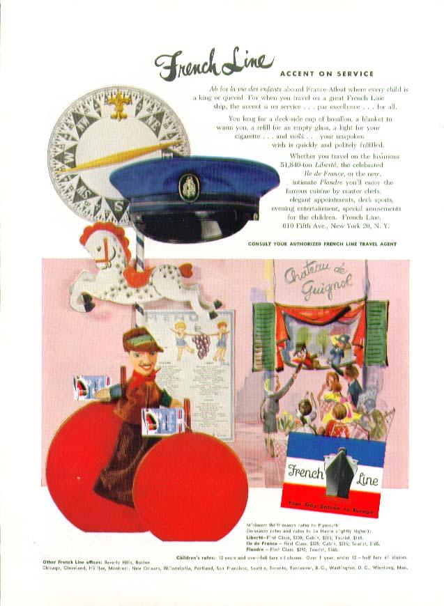 French Line Accent on Service Ah for la ve des enfants ad 1953
