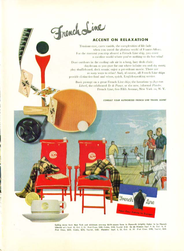 Image for French Line Accent on Relaxation - tensions ease cares vanish ad 1953