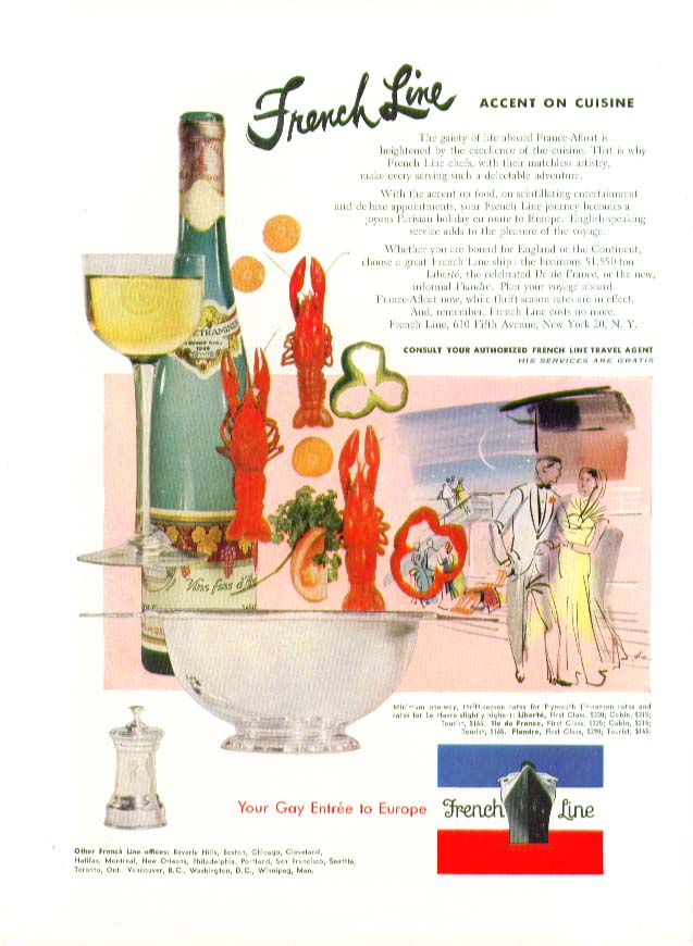 Image for French Line Accent on Cuisine The gaiety of France-Afloat ad 1953