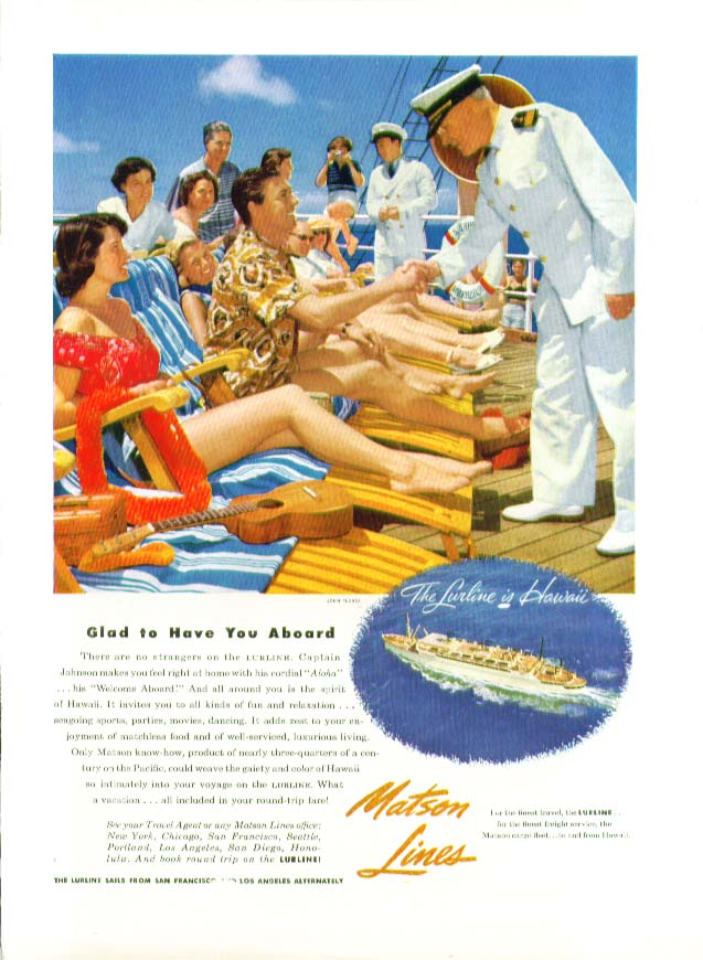 Image for Glad to Have You Aboard S S Lurline Matson Lines ad 1953