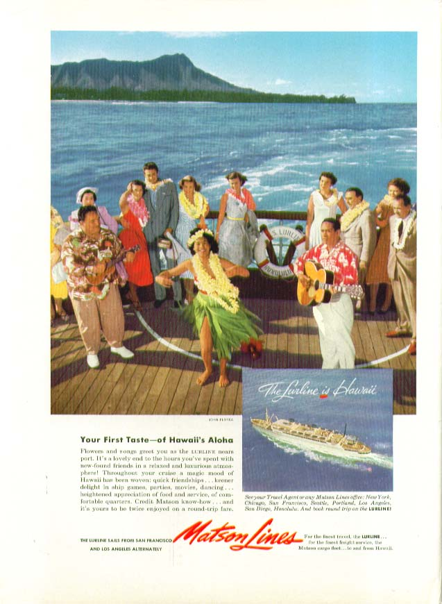 Image for Your First Taste - of Hawaii's Aloha S S Lurline Matson Lines ad 1953