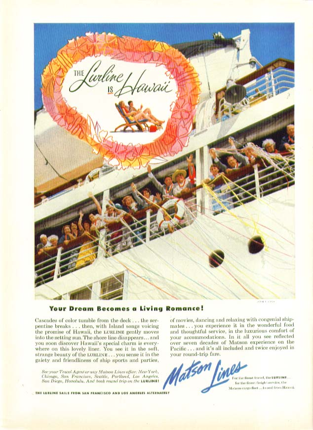 Image for Your Dream Becomes a Living Romance S S Lurline Matson Lines ad 1953