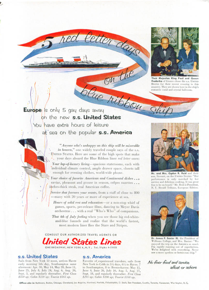5 red letter days on S S United States ad 1954