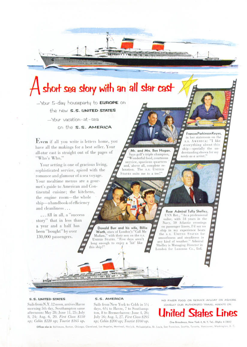 A short sea story . . . S S United States ad 1954