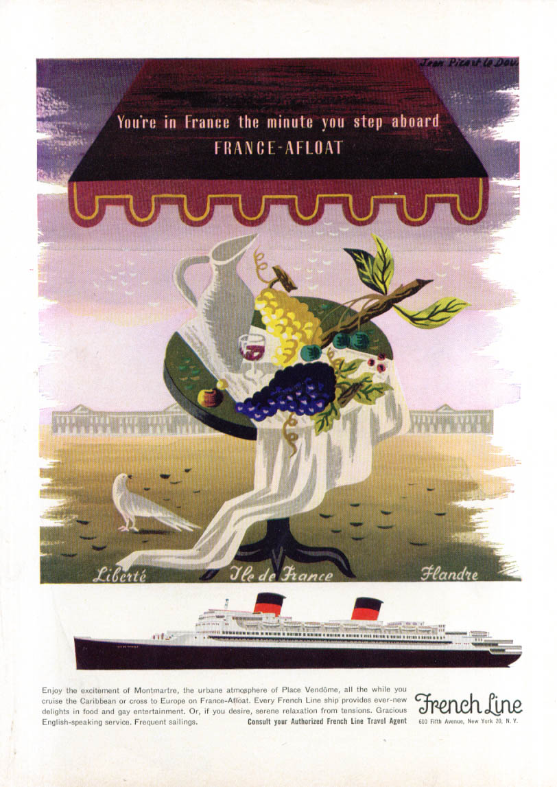 Image for French Line S S Ile de France grapes on table ad 1954