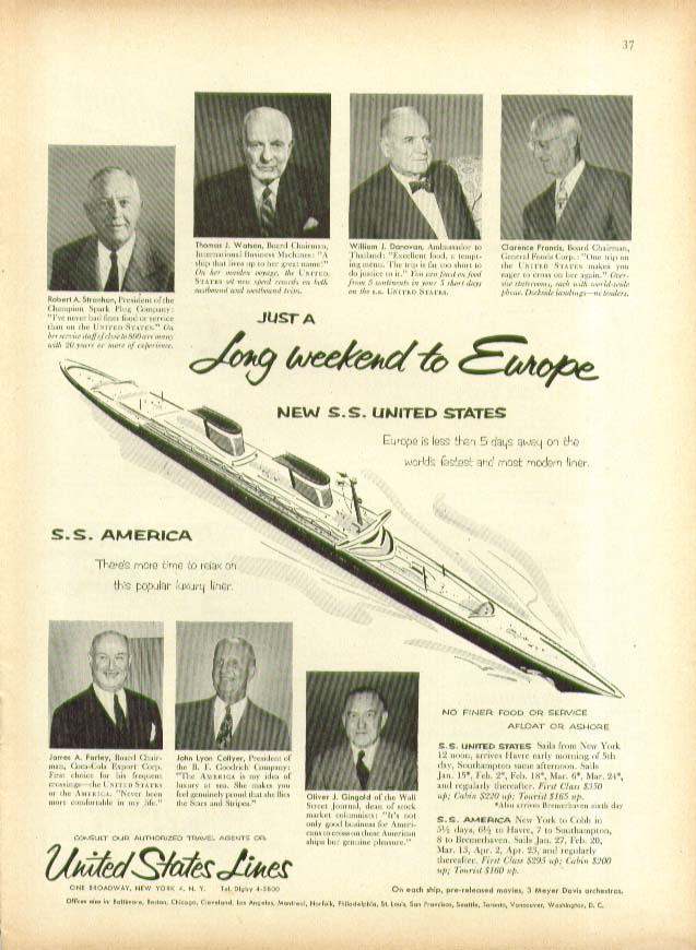 Just a Long weekend to Europe S S United States ad 1954