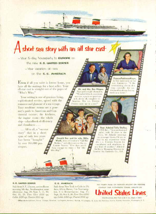 Image for A short sea story with an all star cast S S United States ad 1954