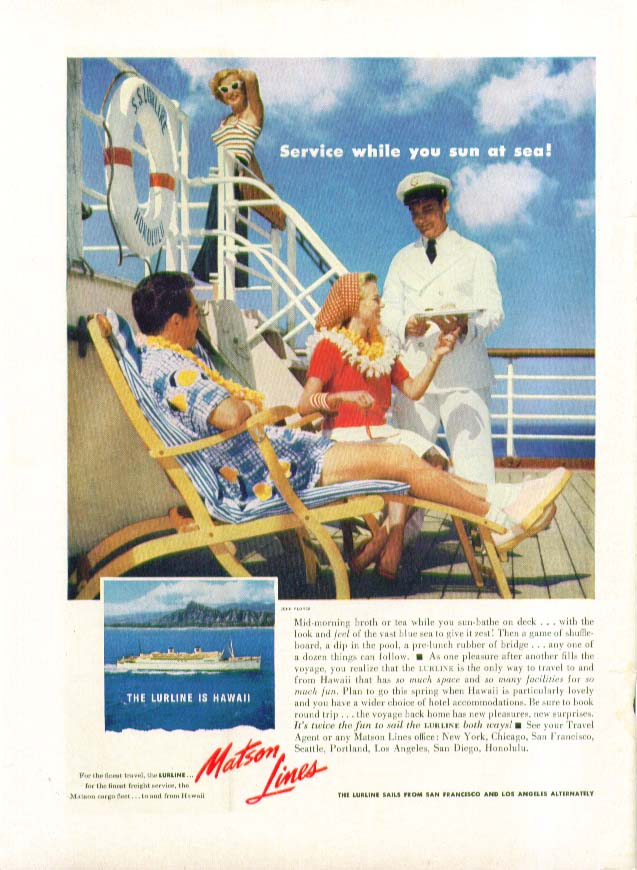 Image for Service while you sun at sea! S S Lurline Matson Lines ad 1954