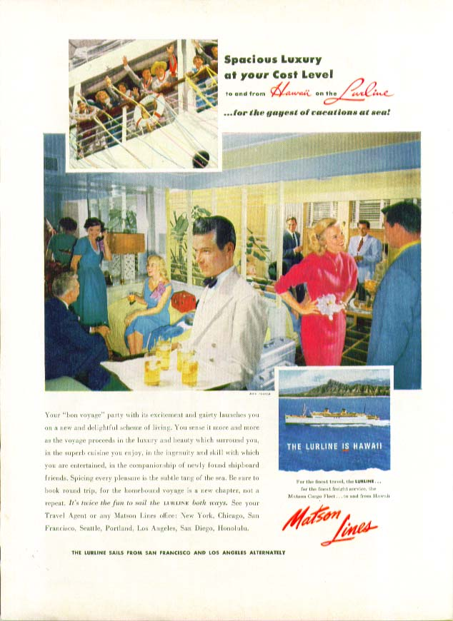Image for Spacious Luxury at your Cost Level S S Lurline Matson Lines ad 1954