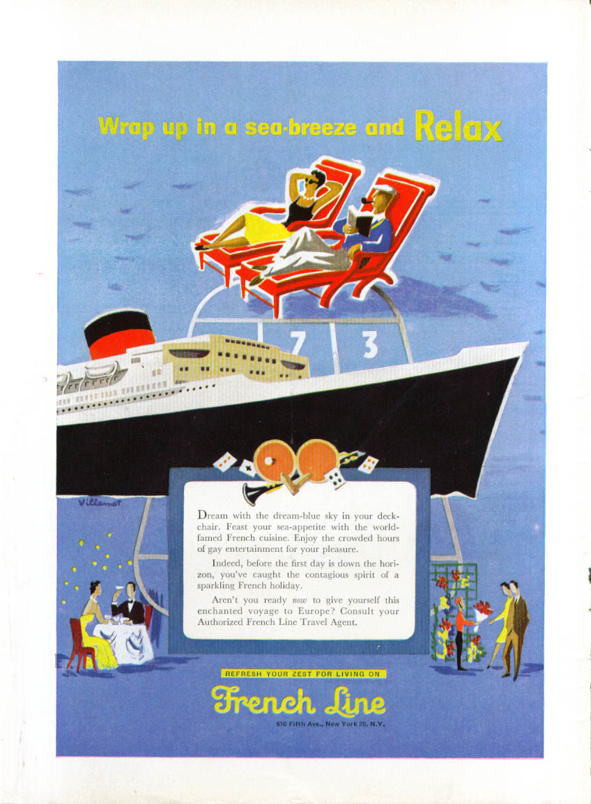 Wrap up in a sea-breeze & Relax French Line ad 1955