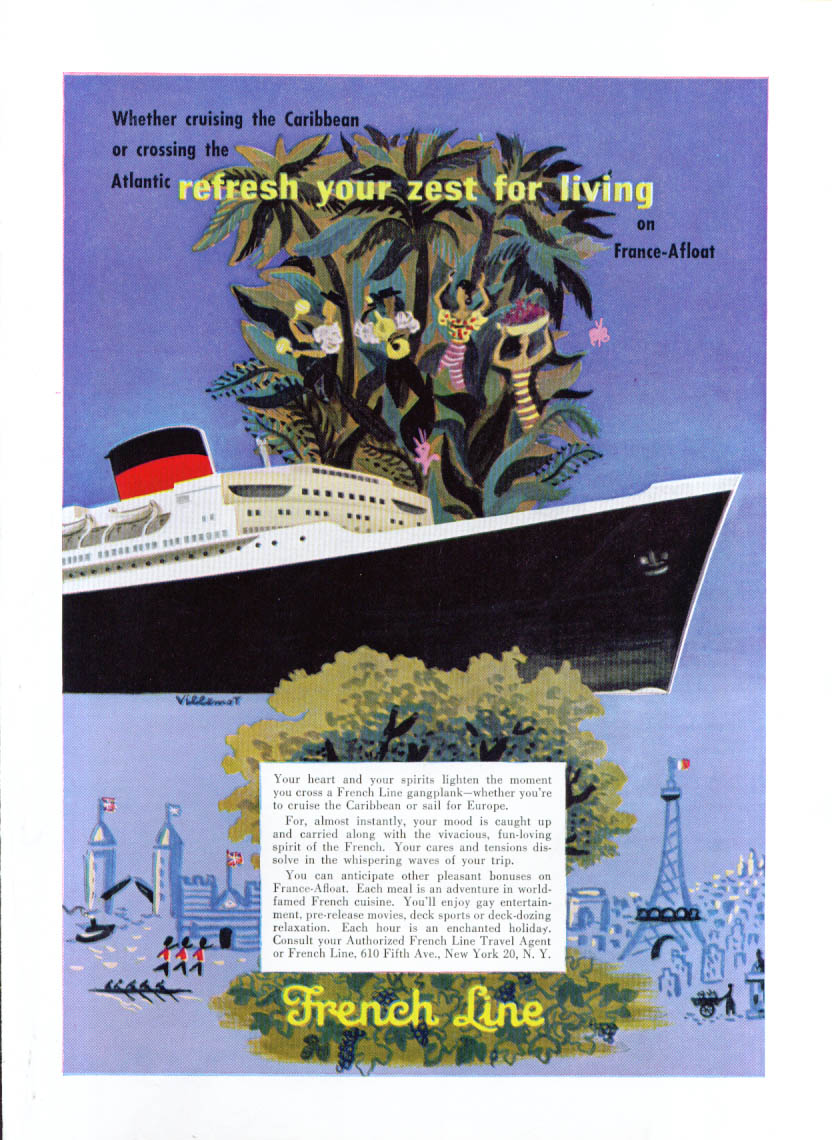 Image for Refresh your zest for living French Line ad 1955