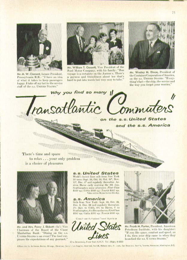 Image for Why so many Transatlantic Commuters on S S United States ad 1955