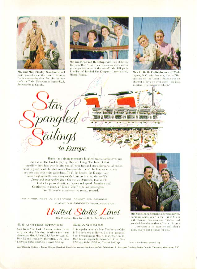 Star Spangled Sailing to Europe S S United States ad 1955