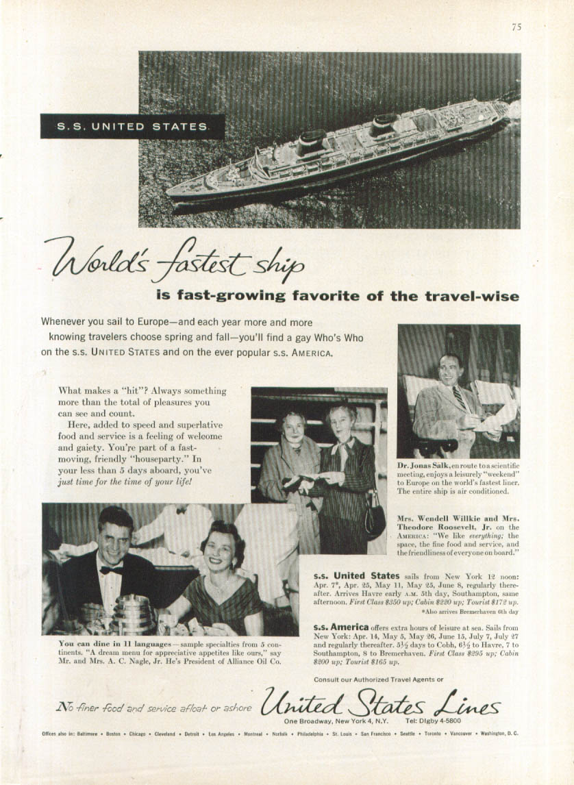 World's fastest ship S S United States ad 1956