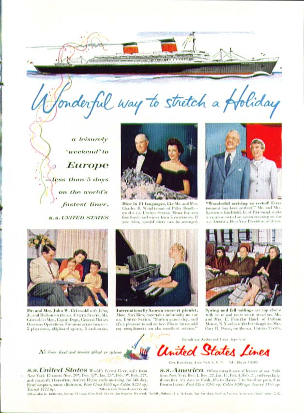 Wonderful way to stretch a holiday S S United States ad 1956