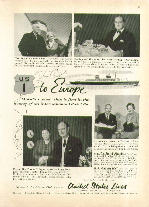 Image for US 1 to Europe S S United States ad 1956