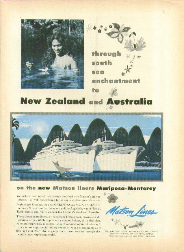 Image for To New Zealand & Australia S S Mariposa & Monterey Matson Lines ad 1956