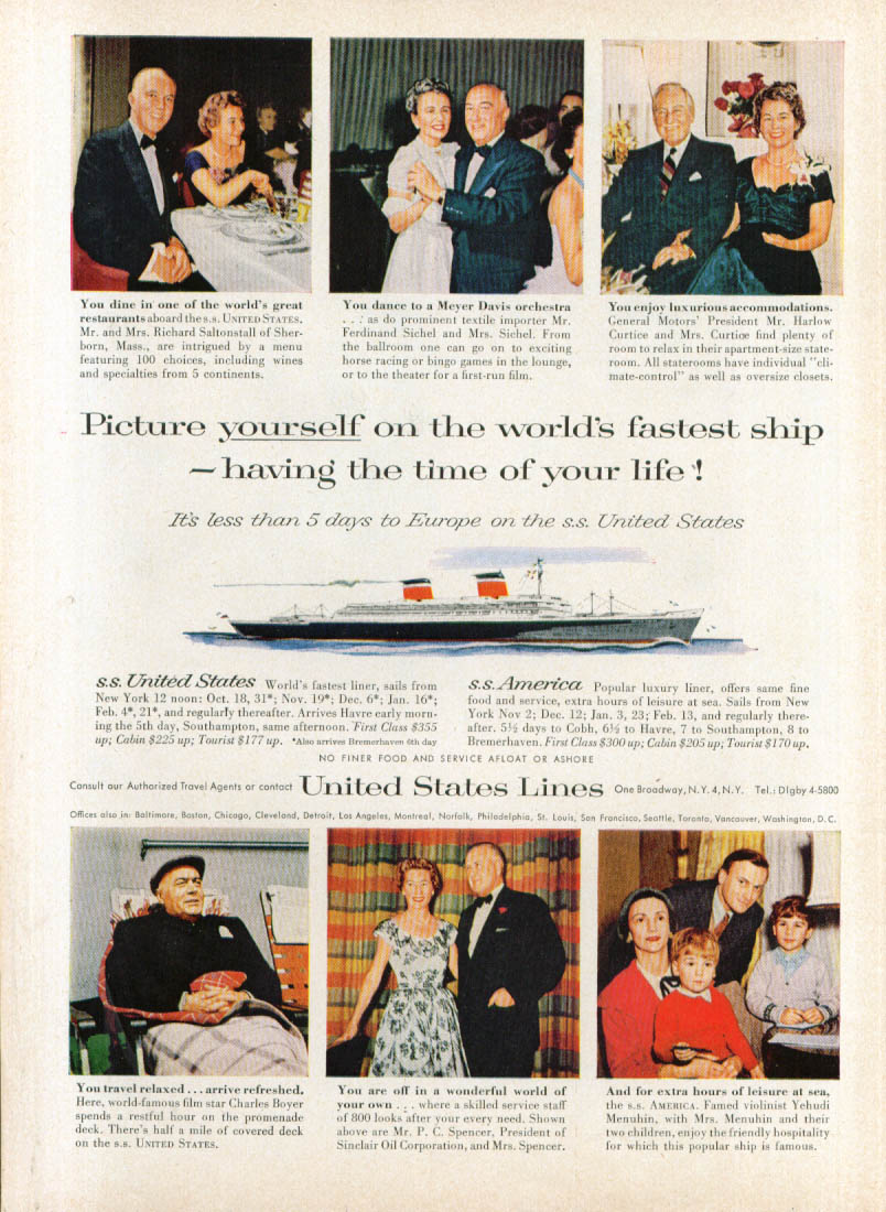 Image for Picture yourself on the S S United States ad 1957