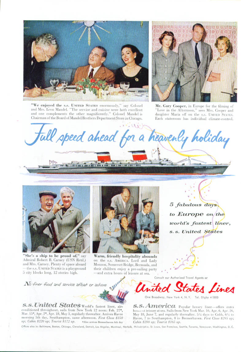 Full speed ahead heavenly S S United States ad 1957