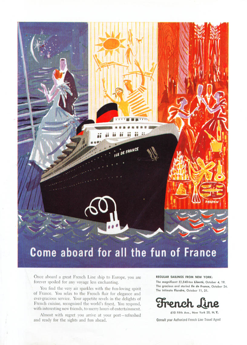 Image for Come aboard S S Ile de France French Line ad 1957