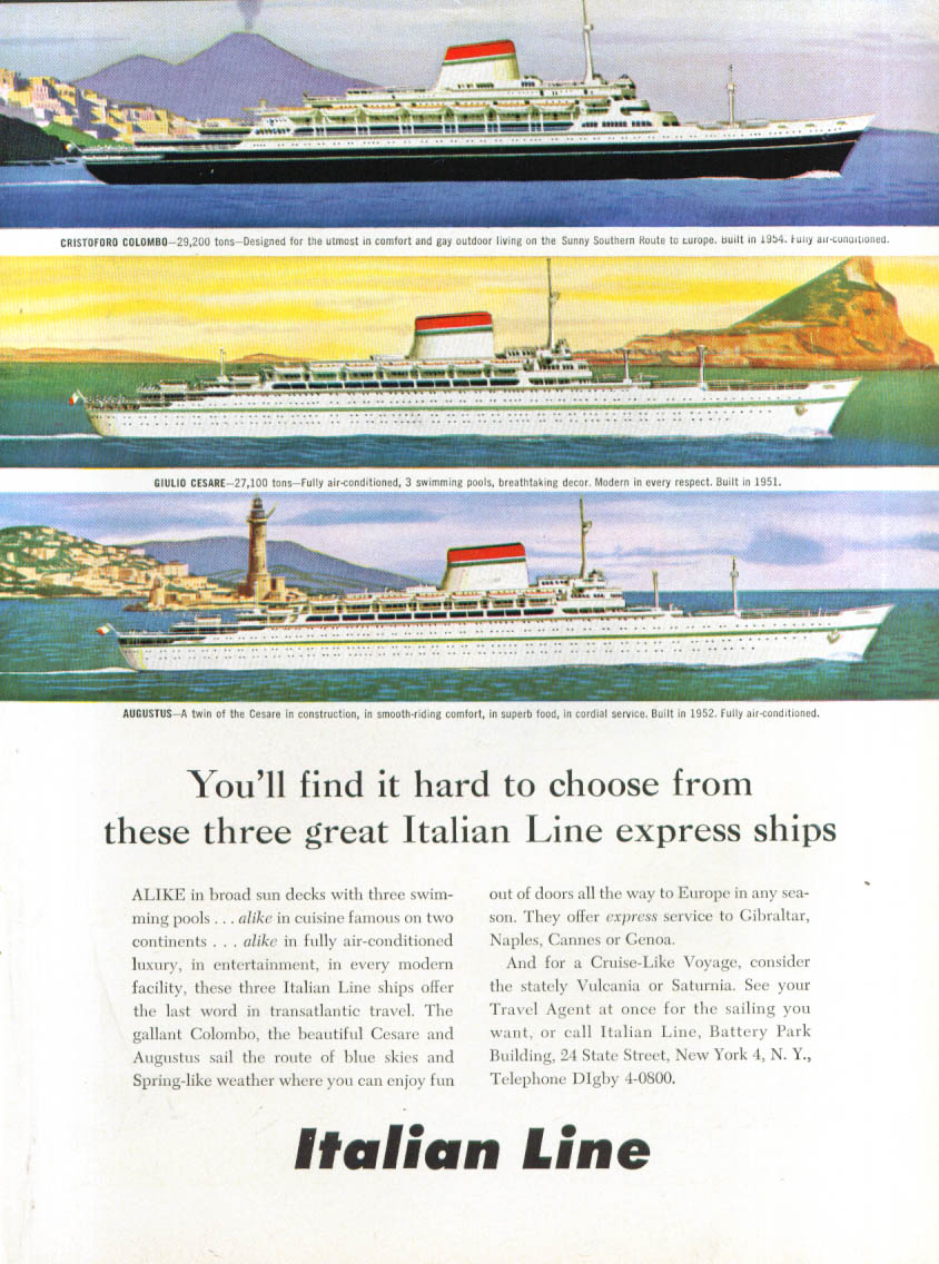 Three great express ships Italian Line ad 1957