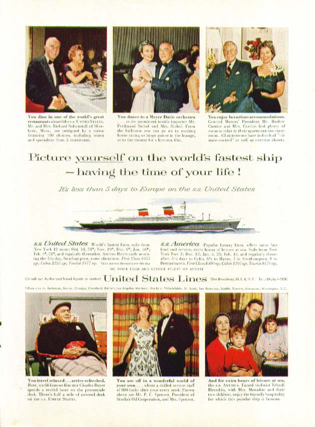 Picture yourself on the world's fastest ship S S United States ad 1957