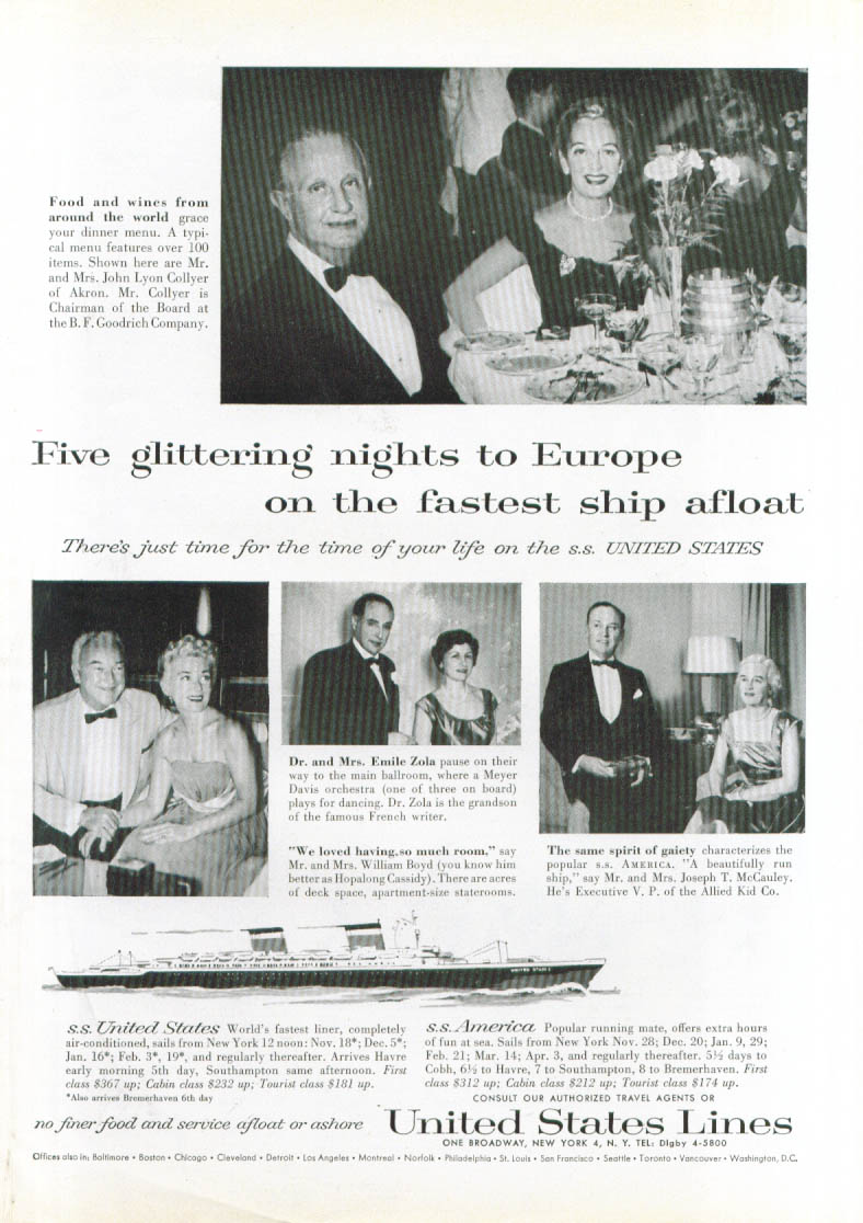 Image for Five glittering nights . . S S United States ad 1958