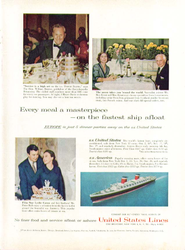 Every meal a masterpiece on fastest ship afloat S S United States ad 1958