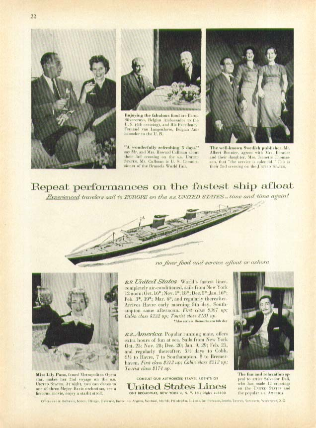 Image for Repeat performances on the fastest ship afloat S S United States ad 1958