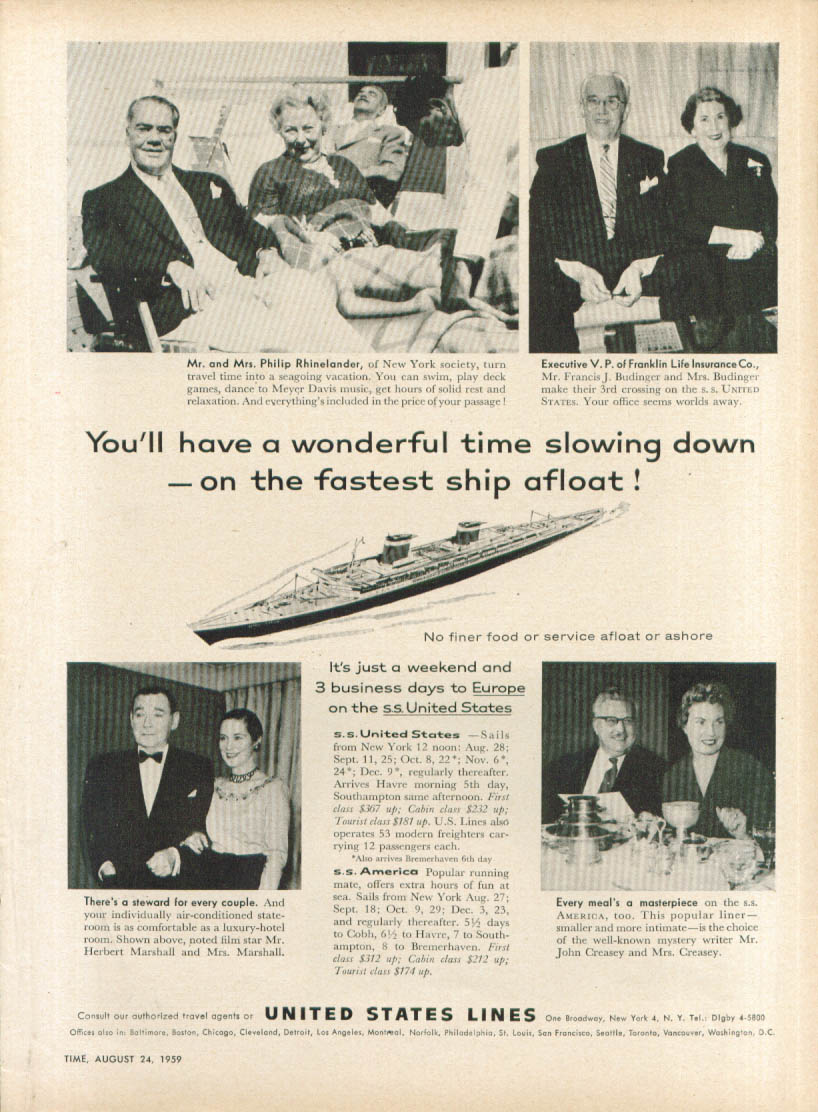 Image for A wonderful time slowing down S S United States ad 1959