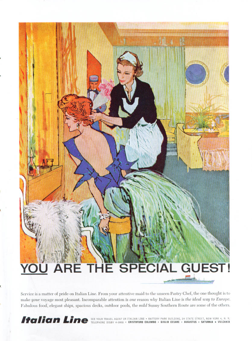 Image for YOU are the special guest Italian Line ad 1959