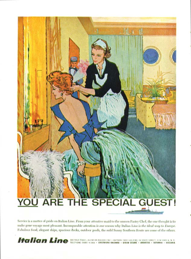 Image for YOU are the special guest! Italian Line ad 1959