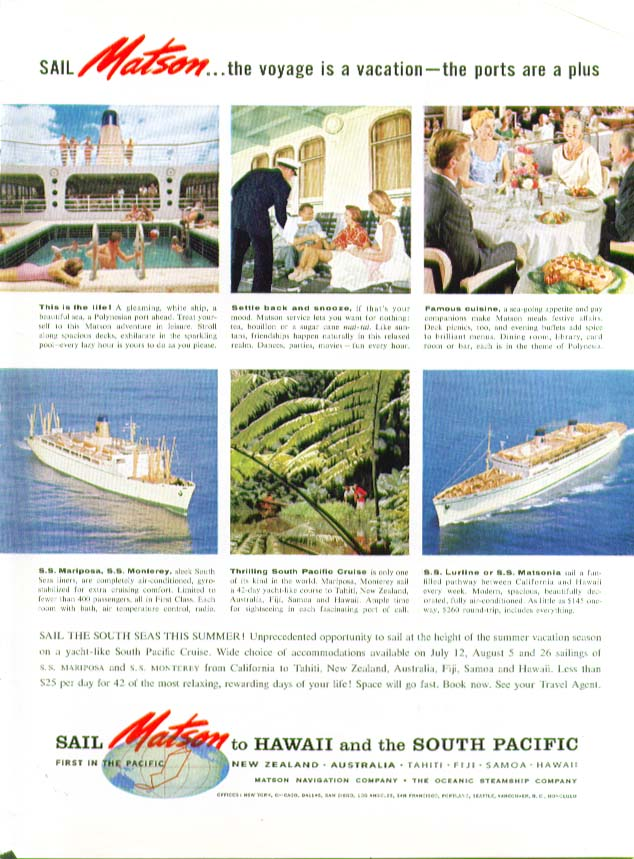 Image for Voyage is a vacation S S Mariposa Lurline Monterey Matsonia Matson Lines ad 1959