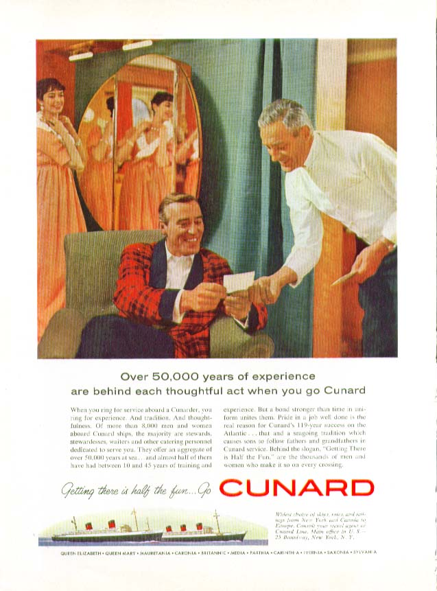 Image for Over 50,000 years of experience behind each thoughtful act Cunard ad 1959