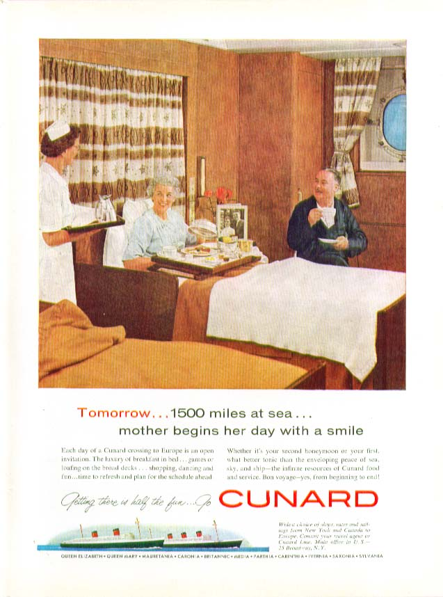 Image for Tomorrow 1500 miles at sea mother begins her day with a smile Cunard ad 1959