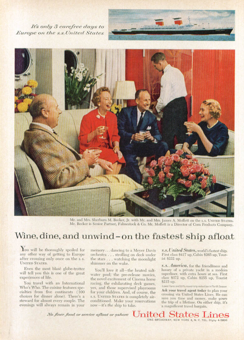 Image for Wine dine & unwind on fastest S S United States ad 1960