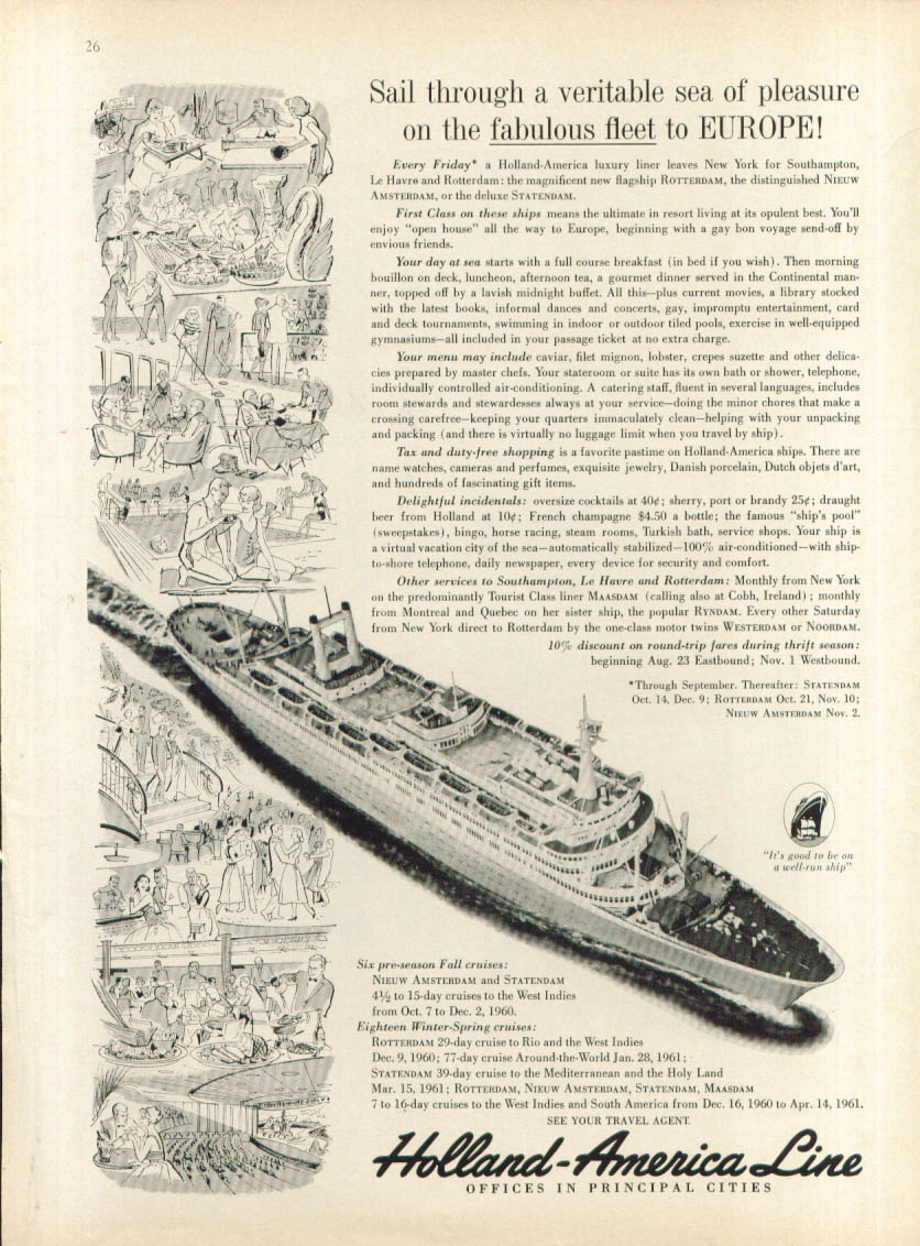 Image for Veritable sea of pleasure S S Nieuw Amsterdam ad 1960
