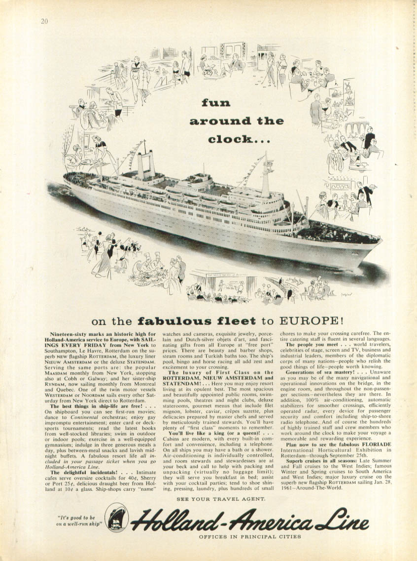 Image for Fun around the clock S S Nieuw Amsterdam ad 1960
