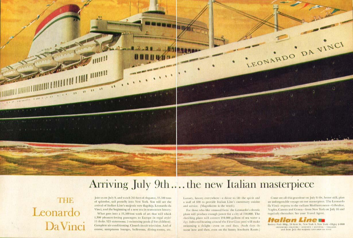 Image for Arriving July 9th The new Italian Masterpiece S S Leonardo Da Vinci ad 1960