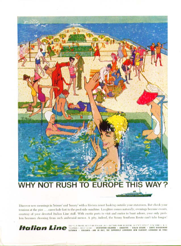 Image for Why not rush to Europe this way? Italian Line ad 1960