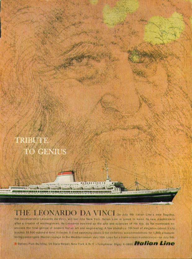 Image for Tribute to Genius S S Leonardo Da Vinci Italian Line ad 1960