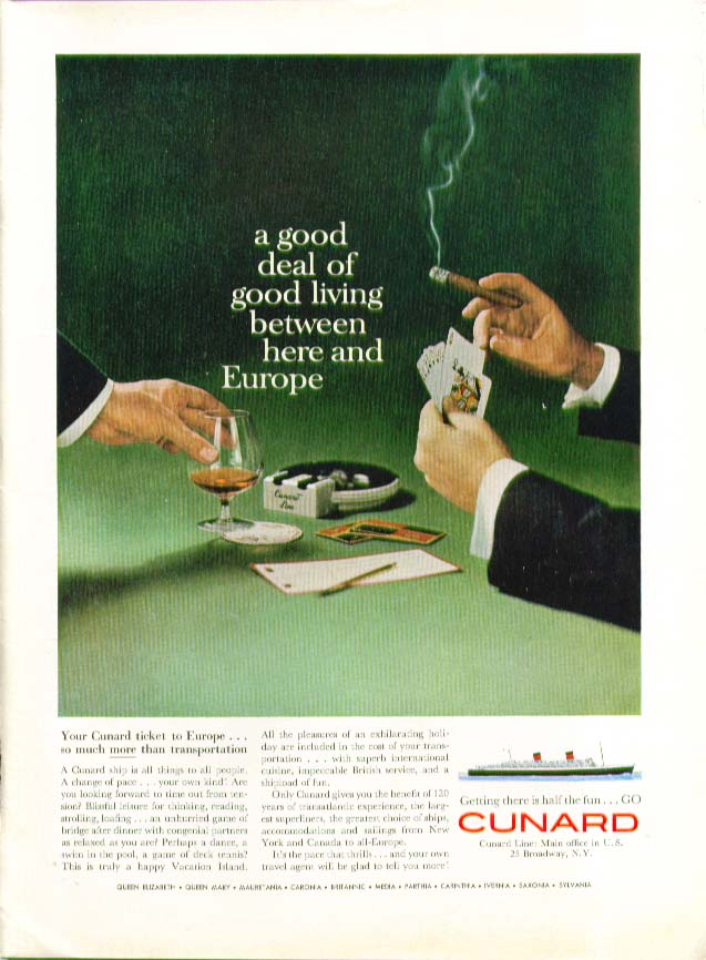 A good deal of good living between here and Europe Cunard ad 1960
