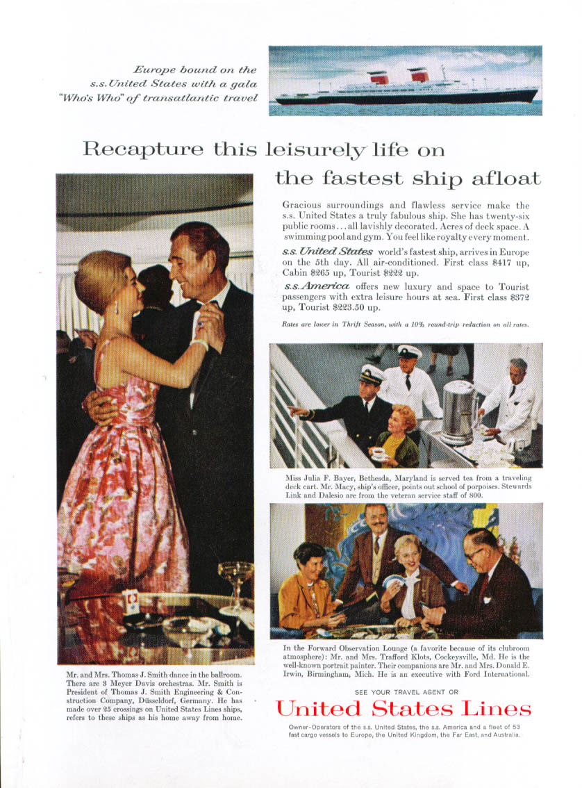 Image for Recapture this leisurely life S S United States ad 1961